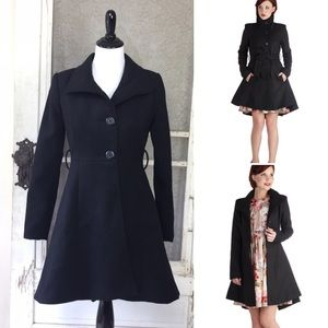 BB Dakota Black High-low Winter Coat Size XS